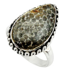 925 silver natural stingray coral from alaska solitaire ring size 8.5 r28737