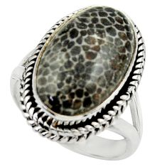 925 silver natural stingray coral from alaska solitaire ring size 7.5 r28740