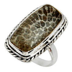 925 silver natural stingray coral from alaska solitaire ring size 8 r28079