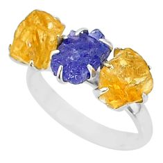 925 silver 10.08cts natural tanzanite citrine raw 3 stone ring size 8 t7109