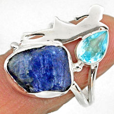 925 silver 8.53cts natural tanzanite rough ballet dance charm ring size 7 r61924