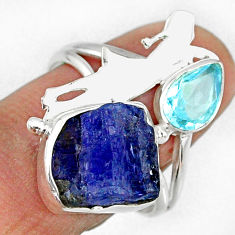 925 silver 7.82cts natural tanzanite rough ballet dance charm ring size 8 r61928