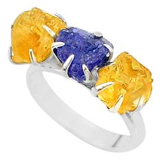 925 silver 9.83cts natural tanzanite raw citrine 3 stone ring size 7 t7116