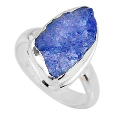 925 silver 6.33cts natural tanzanite rough fancy solitaire ring size 6.5 r61829