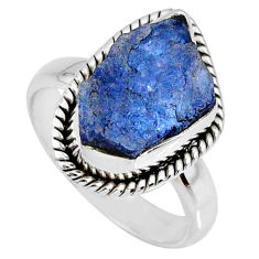 925 silver 6.36cts natural tanzanite rough fancy solitaire ring size 6.5 r61877