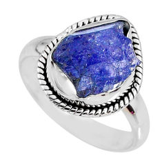 925 silver 5.82cts natural tanzanite rough fancy solitaire ring size 8 r61784