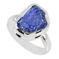 925 silver 6.32cts natural tanzanite rough fancy solitaire ring size 8 r61805