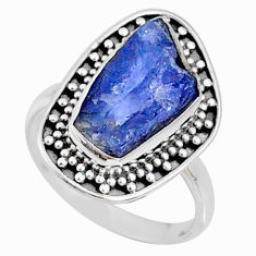 925 silver 6.95cts natural tanzanite raw solitaire ring size 7.5 r66704