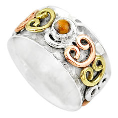 925 silver 0.51cts natural tiger's eye two tone spinner ring size 10.5 t12653