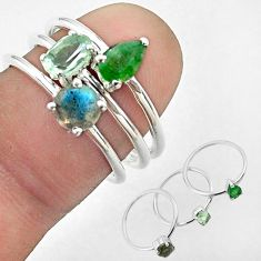 925 silver 3.14cts natural topaz labradorite emerald 3 rings size 6.5 t50919