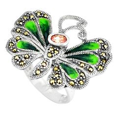 925 silver 1.57cts natural orange topaz marcasite butterfly ring size 7.5 c16292