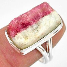 925 silver 12.89cts natural tourmaline in quartz solitaire ring size 8 r85769
