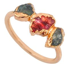 925 silver 4.07cts natural tourmaline raw 14k rose gold ring size 7 r70687