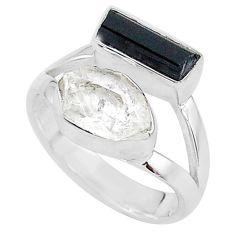 925 silver 8.84cts natural tourmaline raw herkimer diamond ring size 7 t9927