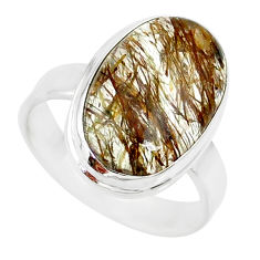 925 silver 9.91cts natural tourmaline rutile oval solitaire ring size 8.5 r85269