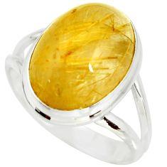 925 silver 12.85cts natural tourmaline rutile solitaire ring size 11.5 r26234