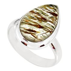 925 silver 11.64cts natural tourmaline rutile solitaire ring size 8.5 r86154