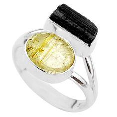 925 silver 8.80cts natural tourmaline rutile tourmaline raw ring size 7 t48904