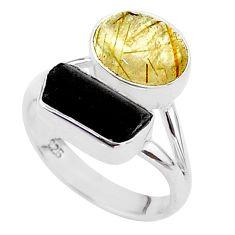925 silver 9.29cts natural tourmaline rutile tourmaline raw ring size 7 t48910
