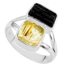 925 silver 8.51cts natural tourmaline rutile tourmaline raw ring size 7 t48914