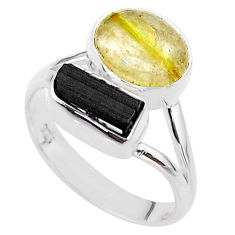 925 silver 8.49cts natural tourmaline rutile tourmaline raw ring size 8 t48907