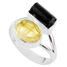 925 silver 9.14cts natural tourmaline rutile tourmaline raw ring size 8 t48912