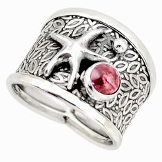 925 silver 0.82cts natural tourmaline star fish solitaire ring size 7 d45883