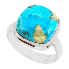 925 silver 6.33cts natural turquoise pyrite solitaire ring size 7 r78244