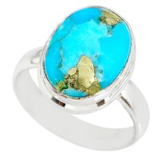 925 silver 6.26cts natural turquoise pyrite solitaire ring size 7 r78258
