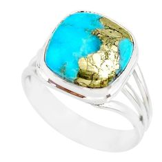 925 silver 6.58cts natural turquoise pyrite solitaire ring size 8 r78264