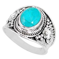 925 silver 4.51cts natural turquoise tibetan oval solitaire ring size 9 r58315