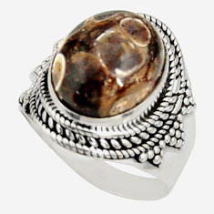925 silver natural turritella fossil snail agate solitaire ring size 8.5 r22552