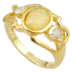 925 silver natural white australian opal (lab) gold ring size 9 a61129 c14957