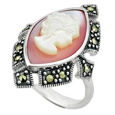 925 sterling silver natural white blister pearl marcasite ring size 8 c16366