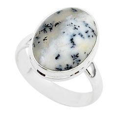 925 silver 6.45cts natural white dendrite opal oval solitaire ring size 7 r95647