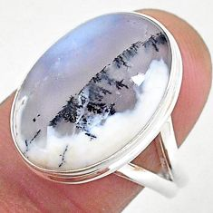 925 silver 14.15cts natural white dendrite opal solitaire ring size 8 r95634