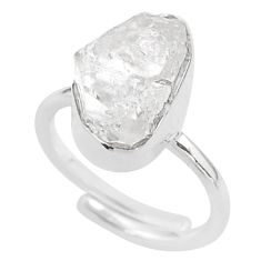 925 silver 5.82cts natural white herkimer diamond adjustable ring size 6 t49034