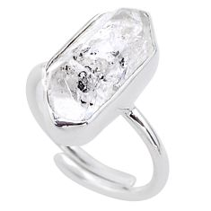 925 silver 8.77cts natural white herkimer diamond adjustable ring size 8 t49020