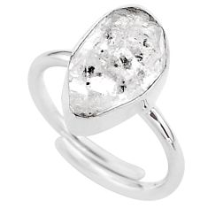 925 silver 6.40cts natural white herkimer diamond adjustable ring size 8 t49023