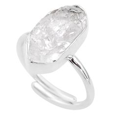 925 silver 7.33cts natural white herkimer diamond adjustable ring size 8 t49037