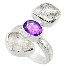 925 silver 13.77cts natural white herkimer diamond amethyst ring size 6 r29632