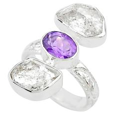 925 silver 12.83cts natural white herkimer diamond amethyst ring size 6 t10292