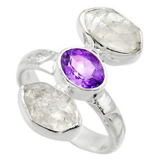 925 silver 12.34cts natural white herkimer diamond amethyst ring size 7 r29628