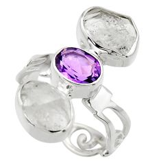 925 silver 12.06cts natural white herkimer diamond amethyst ring size 7 r29637