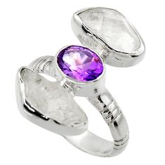 925 silver 13.57cts natural white herkimer diamond amethyst ring size 8 r29640