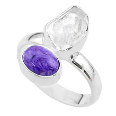 925 silver 8.73cts natural white herkimer diamond charoite ring size 8 t49643