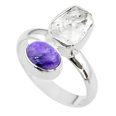 925 silver 9.61cts natural white herkimer diamond charoite ring size 9 t49664