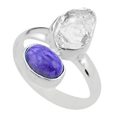925 silver 9.12cts natural white herkimer diamond charoite ring size 7.5 t49695