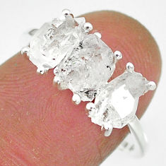 925 silver 6.62cts natural white herkimer diamond fancy shape ring size 7 r91104