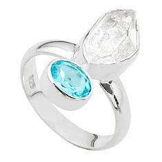 925 silver 9.18cts natural white herkimer diamond fancy topaz ring size 7 t49668